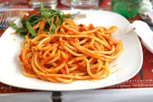 Buccatini with tomato sauce in Rome... take me back to that plate of pasta!