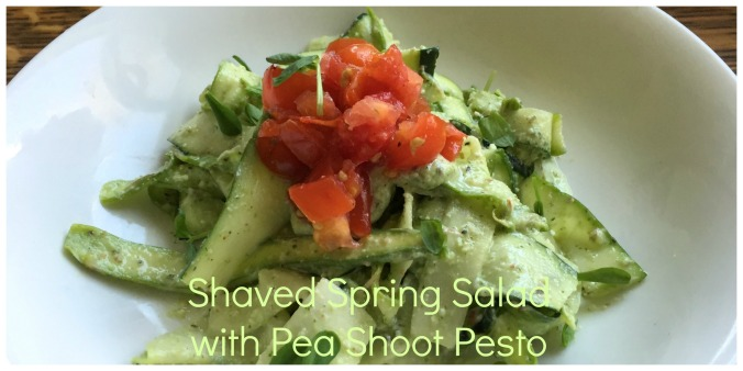 pea shoot pesto salad header